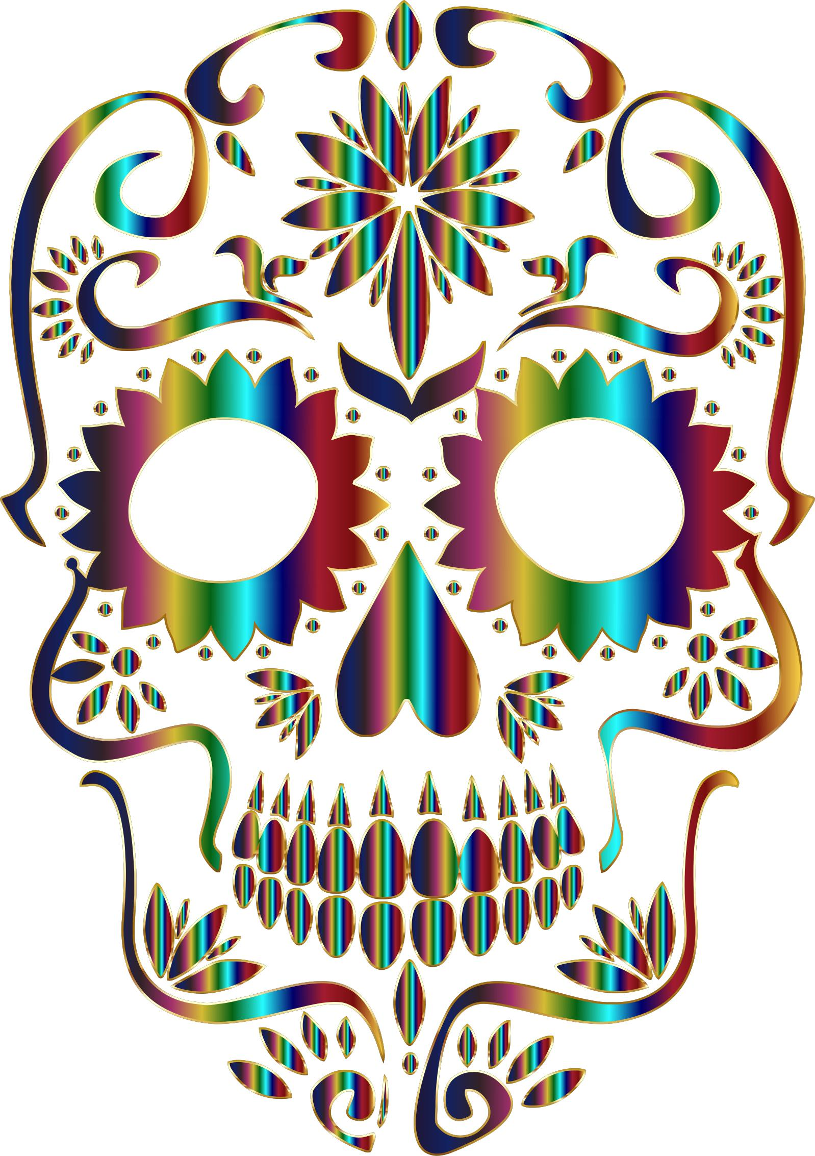 1598x2266 Chromatic Sugar Skull Silhouette 3 No Background Icons Png