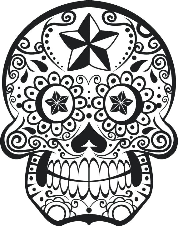 570x723 Colored Sugar Skull Coloring Pages Kids Coloring Sugar Skull Clip