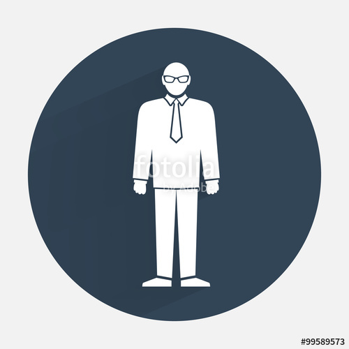 500x500 Man Icon. Office Worker, People Symbol. Standing Figure In Suit