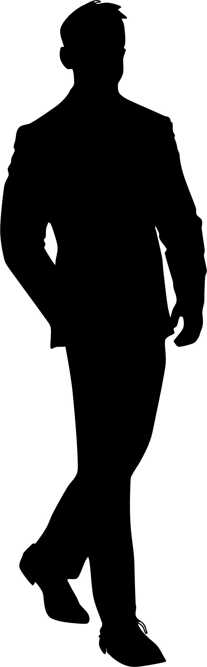698x2250 Man In Suit Silhouette Icons Png