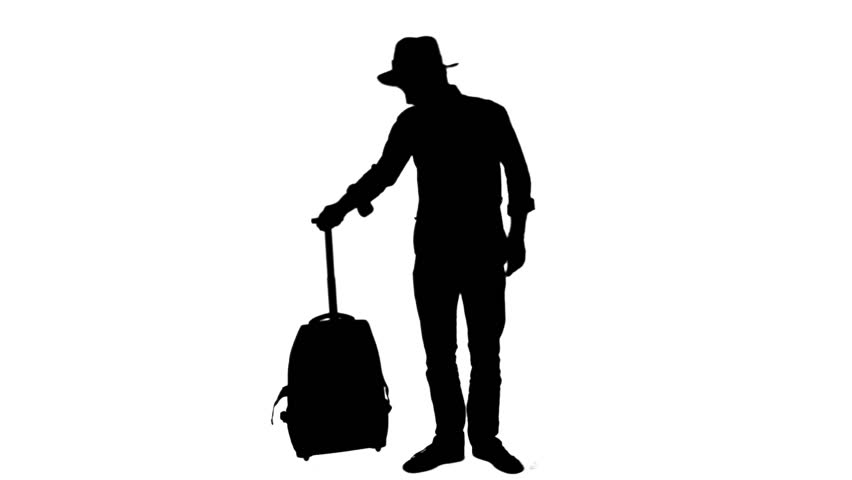 852x480 Silhouette Of A Man Walking With A Suitcase And Waiting