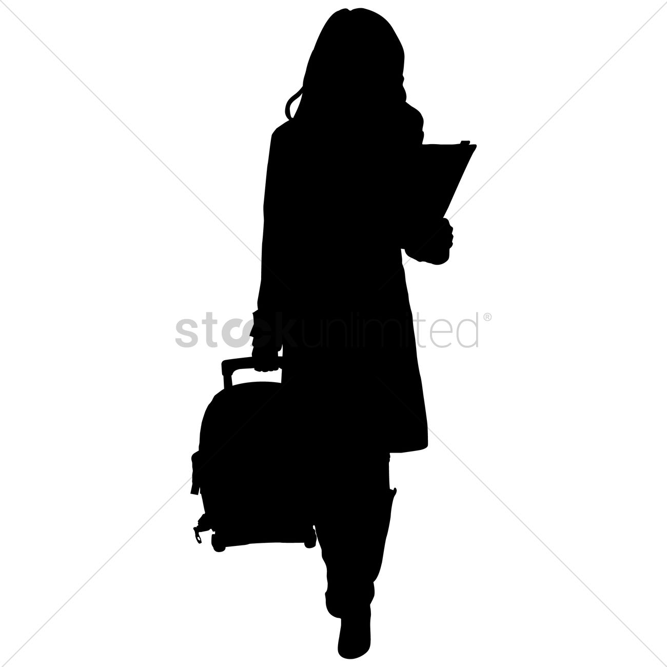 1300x1300 Silhouette Of A Woman With Suitcase Vector Image