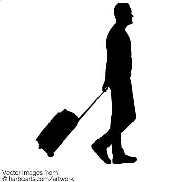 335x355 Download Traveller With Suitcase Silhouette