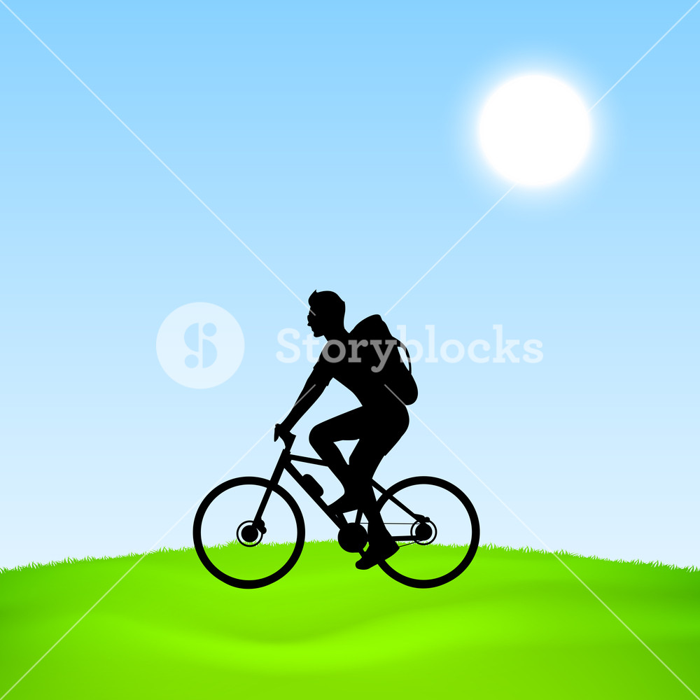 1000x1000 Evening Summer Concept With Silhouette Of A Man Riding A Bicycle