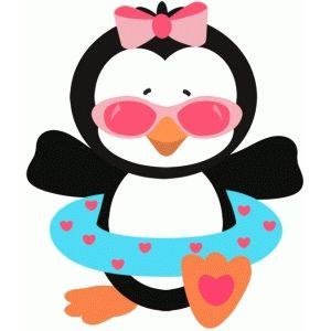 300x300 Penguin Girl Too Cool Summer Silhouette Design, Penguins
