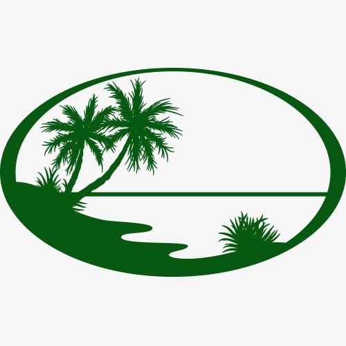 500x500 Silhouette Of Summer Seaside Landscape Logo, Summer Landscape