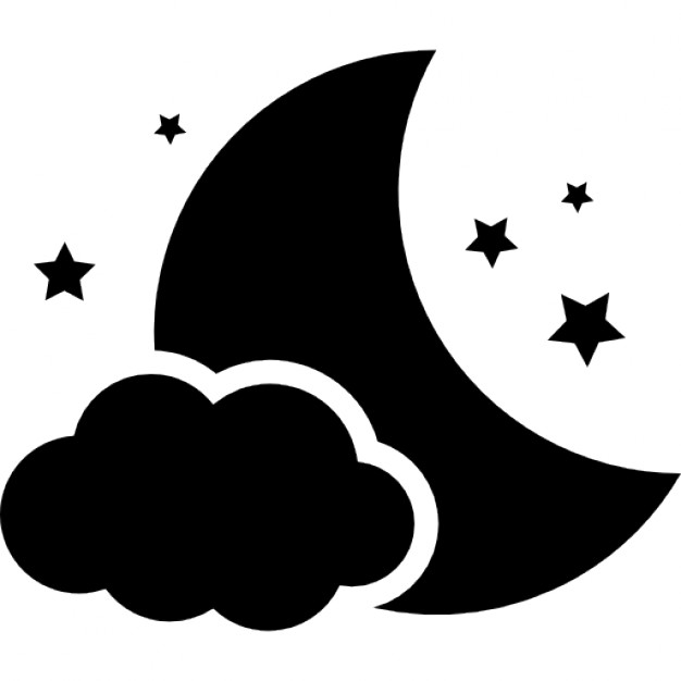 626x626 Night Symbol Of The Moon With A Cloud And Stars Icons Free Download