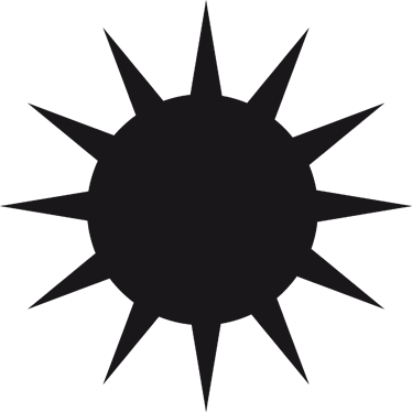 374x374 Sun Silhouette Blackboard Sticker