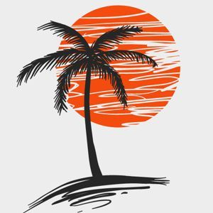 300x300 Palm Tree Silhouette Against Red Sun Vector Amp Clipart Free