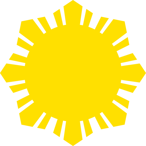 500x500 Phillippine Flag Sun Symbol Yellow Silhouette Vector Clip Art