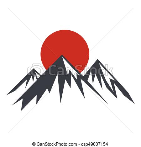 450x470 Rock Mountain Silhouette Vector Illustration With Sun. Rock