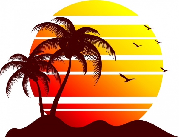 600x459 Sun And Seaside Background Silhouette Decoration Free Vector