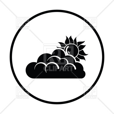400x400 Sun Behind Clouds Icon Royalty Free Vector Clip Art Image