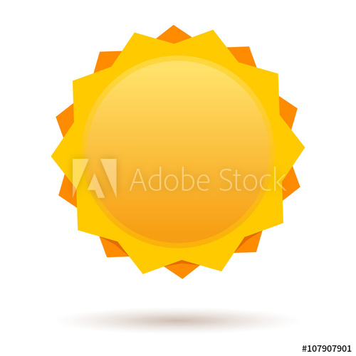 500x500 Sun Logo Isolated On White Background. Cute Cartoon Sun. Label