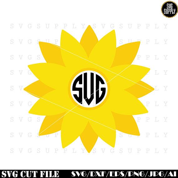 570x570 Sunflower Monogram Svg, Flower Monogram Svg Cut File Vinyl Decal