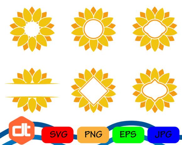 580x464 Sunflower Svg Sunflower Monogram Frames Svg Sunflower Cut Files