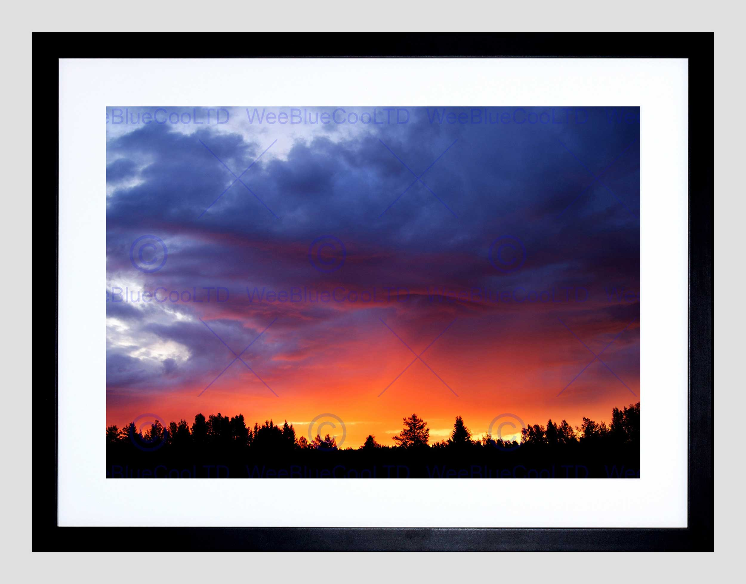 2500x1956 Sunrise Tree Forest Silhouette Purple Orange Sky Framed Art Print