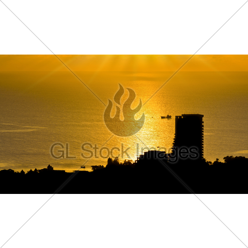 500x500 Silhouette View Hua Hin City At Sunrise Gl Stock Images