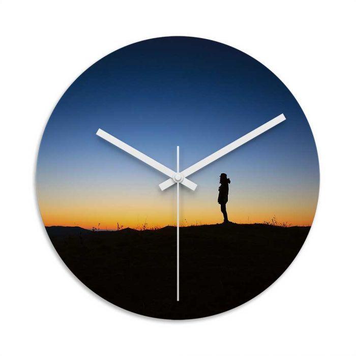 700x700 Sunrise Silhouette Glass Wall Clock