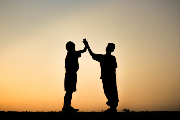 626x417 Team Work And Cooperation, Silhouette Children With Sunrise