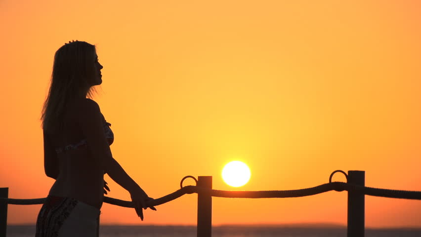 852x480 Woman At Sunrise. Super Slow Motion Stock Footage Video 3339413