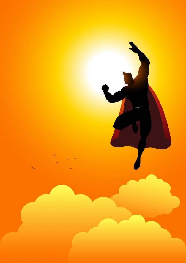 626x885 Cartoon Silhouette Of A Superhero Flying