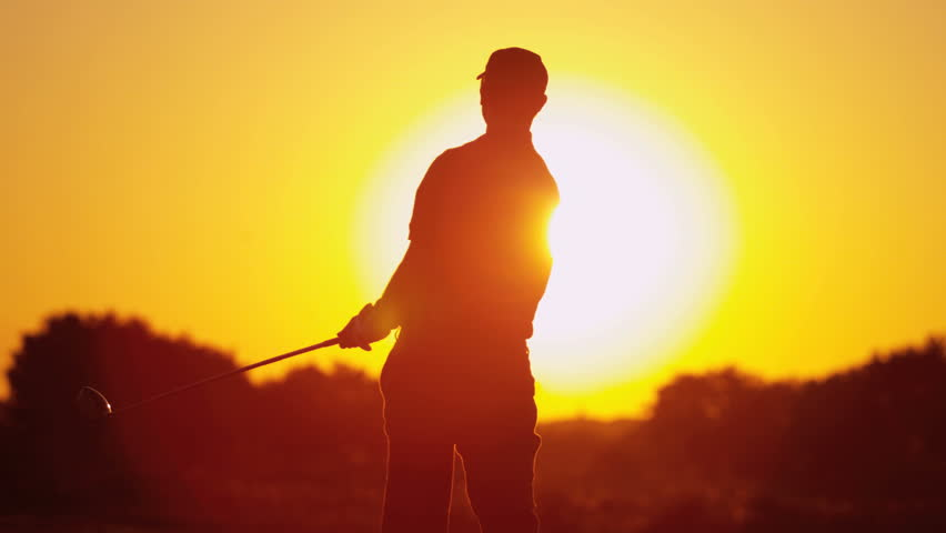 852x480 Caucasian Male Golf Professional Silhouette Holding Driver