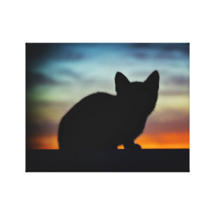 307x307 Cat Silhouette Canvas Prints, Cat Silhouette Stretched Canvas Prints