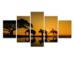300x233 Framed Canvas Print Wall Painting Art Picture Orange Elephant