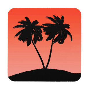 307x307 Palm Tree Silhouette Drink Amp Beverage Coasters