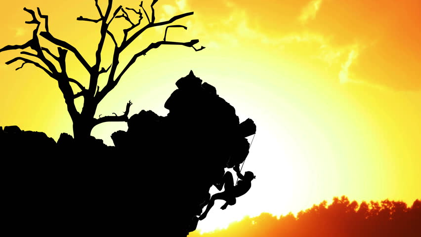 852x480 Rock Climber Hanging Off Cliff Silhouette At Sunset Animation
