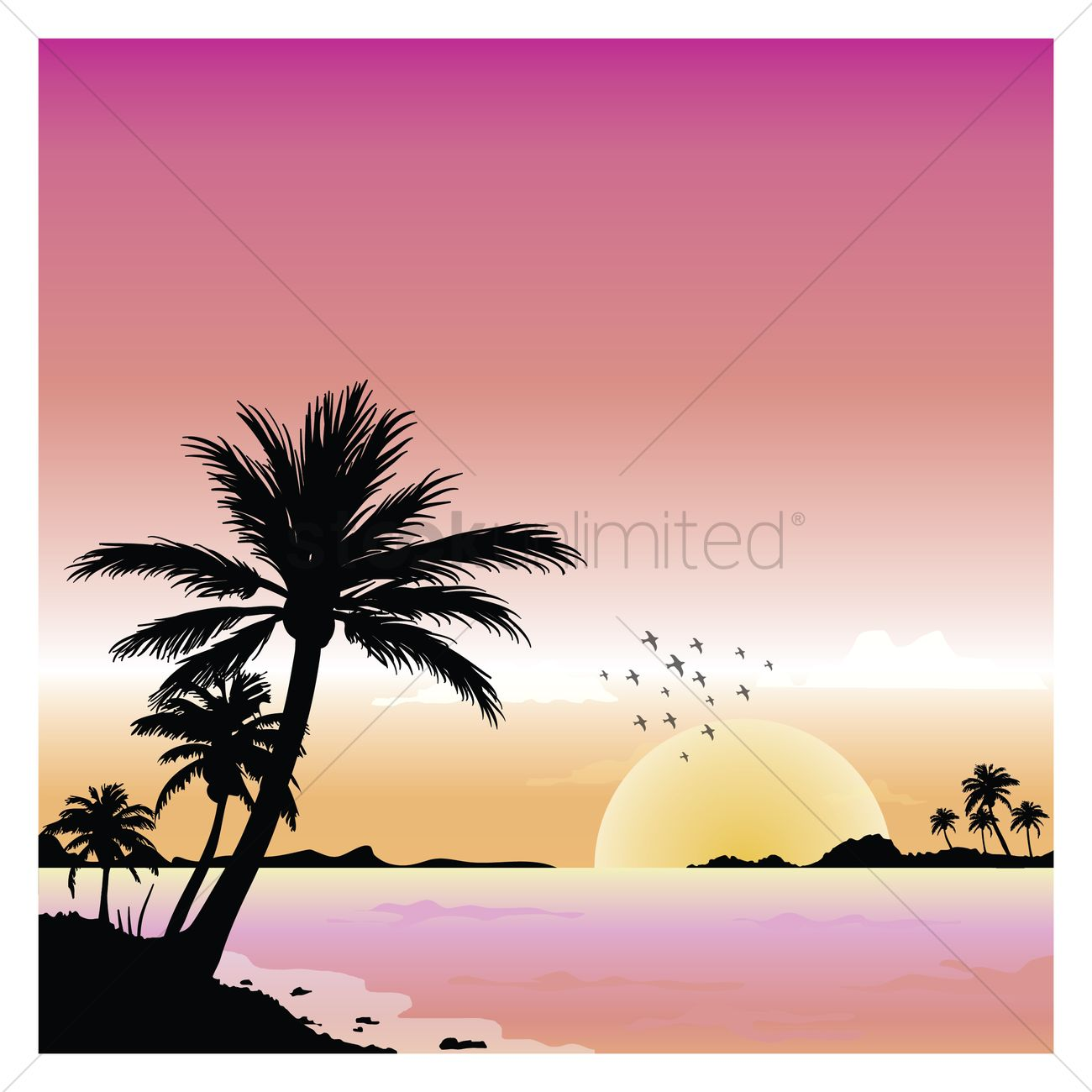 1300x1300 Summer Beach View Vector Image