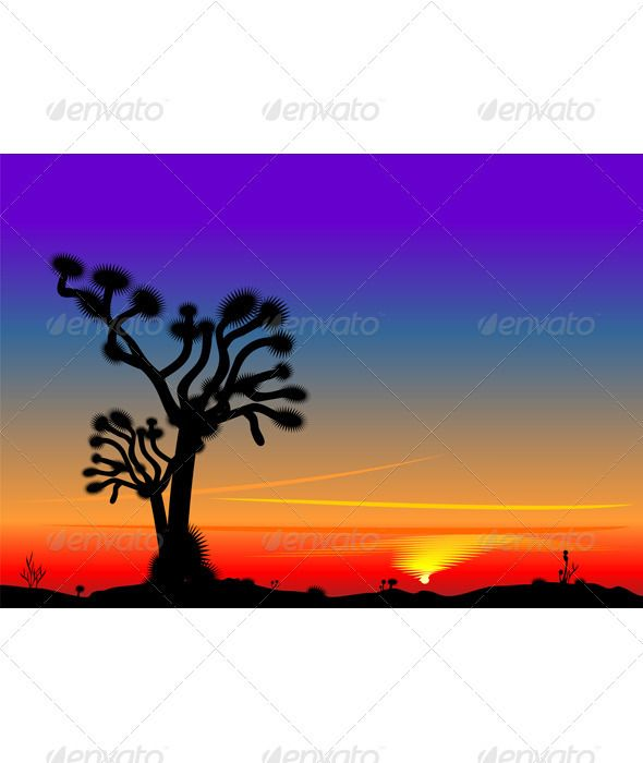 590x700 Vector Beautiful Bright Sunset In The Desert Vector Graphics
