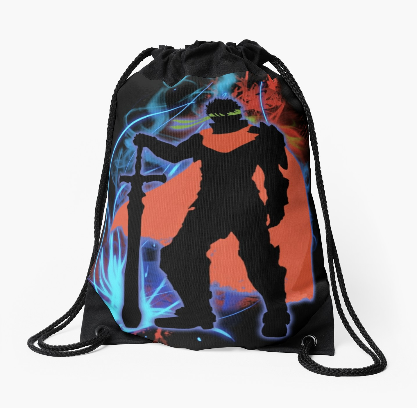 1435x1404 Super Smash Bros. Ike Silhouette Drawstring Bags By Jewlecho