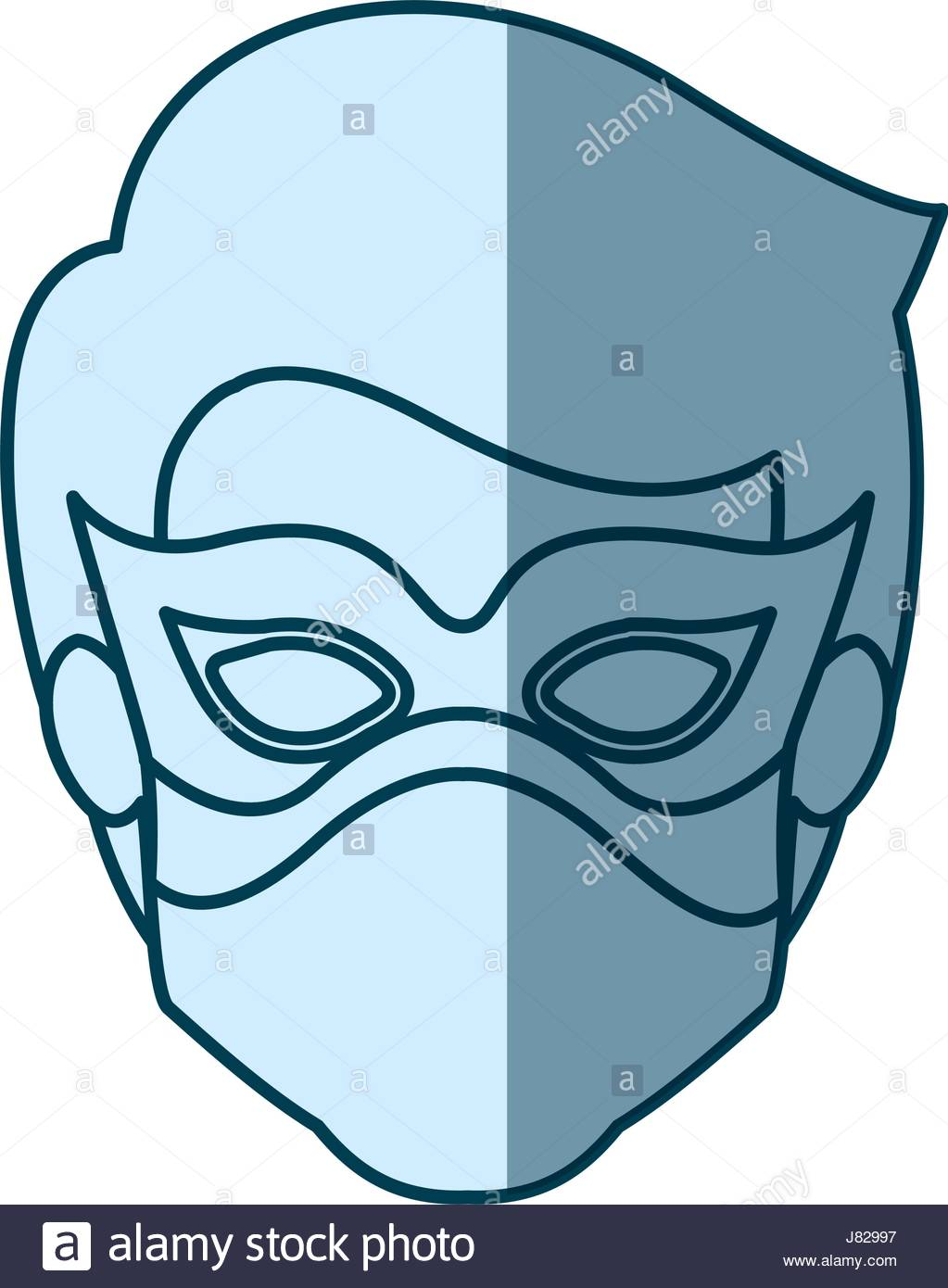 1023x1390 Blue Silhouette With Face Of Kid Superhero With Mask Stock Vector