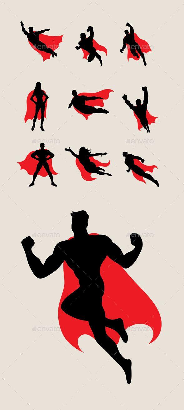 590x1310 Superhero Silhouettes Superhero Silhouette, Superhero And Vector
