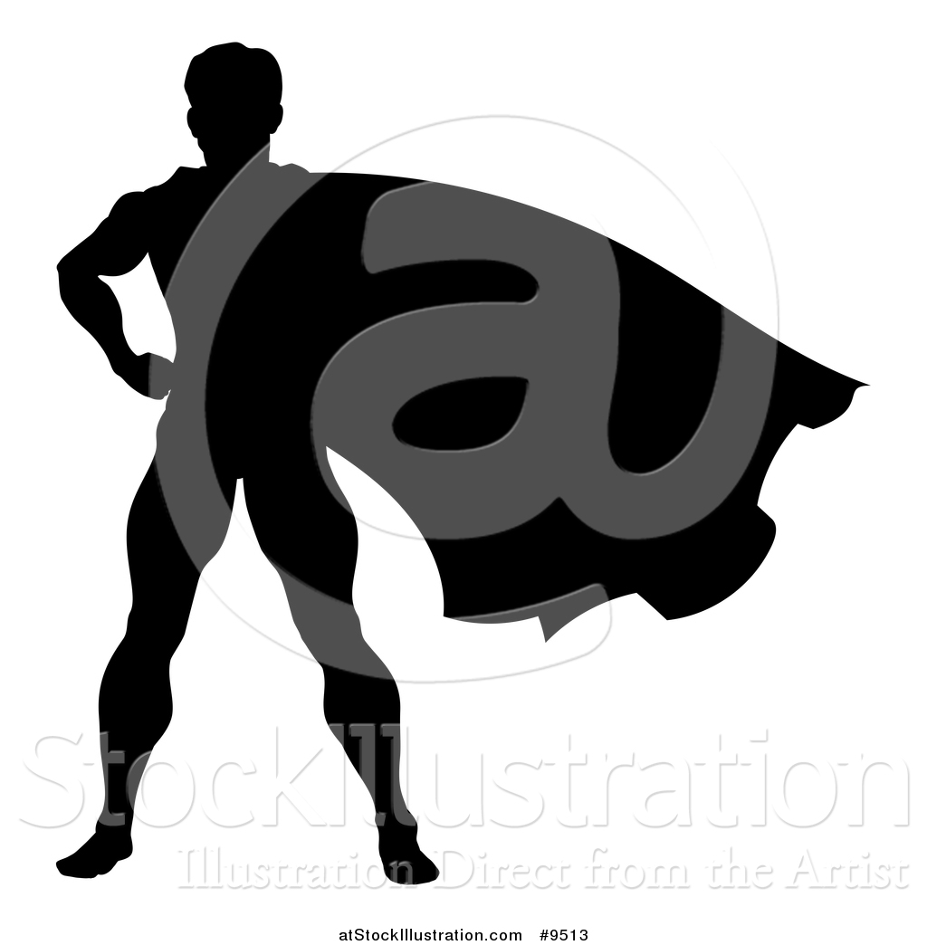 1024x1044 Vector Illustration Of A Black Silhouetted Male Super Hero