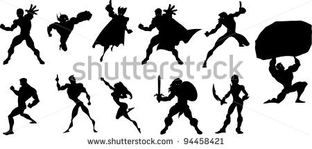 450x216 Superhero Silhouette Clipart