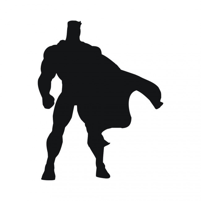 650x650 Superhero Silhouette Superheroes Wall Sticker