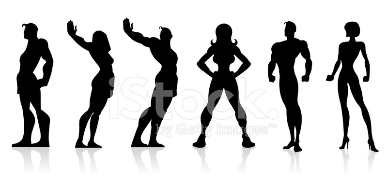 799x379 Black Silhouettes Superheroes Stock Vector