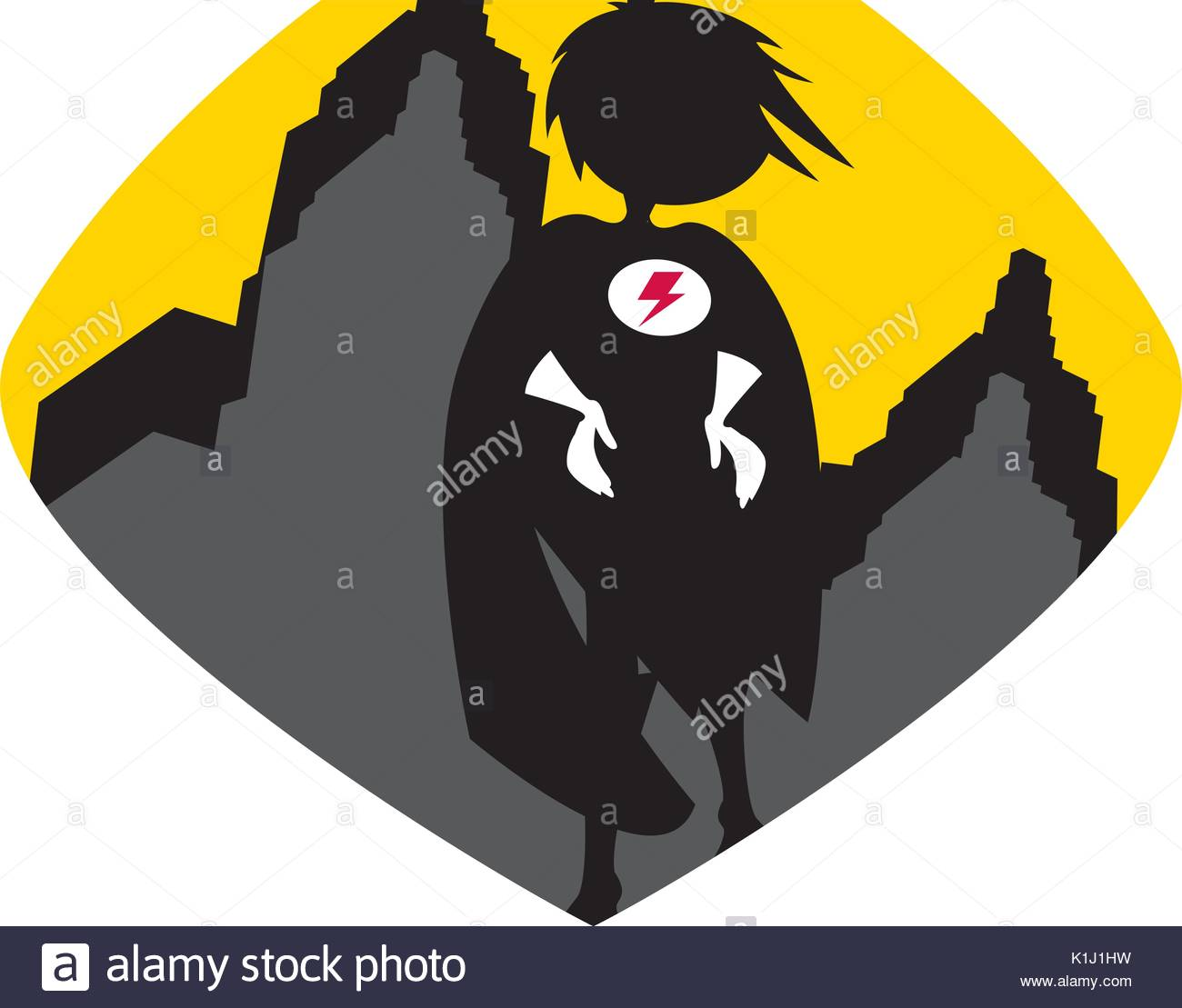 1300x1109 Cute Cartoon Heroic Superhero Silhouette Stock Vector Art