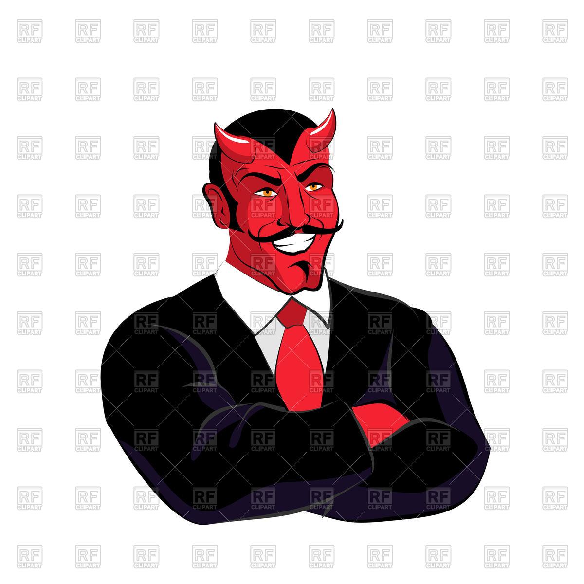 1200x1200 Devil Businessman In Black Suit Royalty Free Vector Clip Art Image