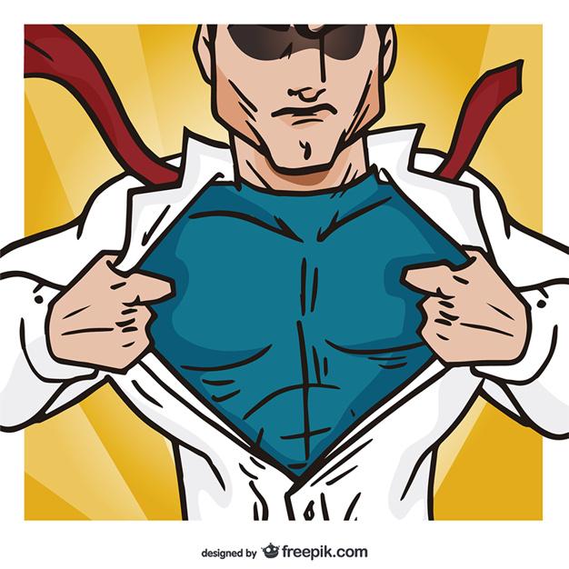 626x626 Superhero Opening His Shirt Vector Free Download