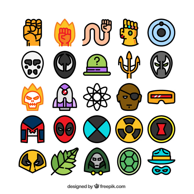 626x626 Variety Of Colored Superhero Icons Vector Free Download
