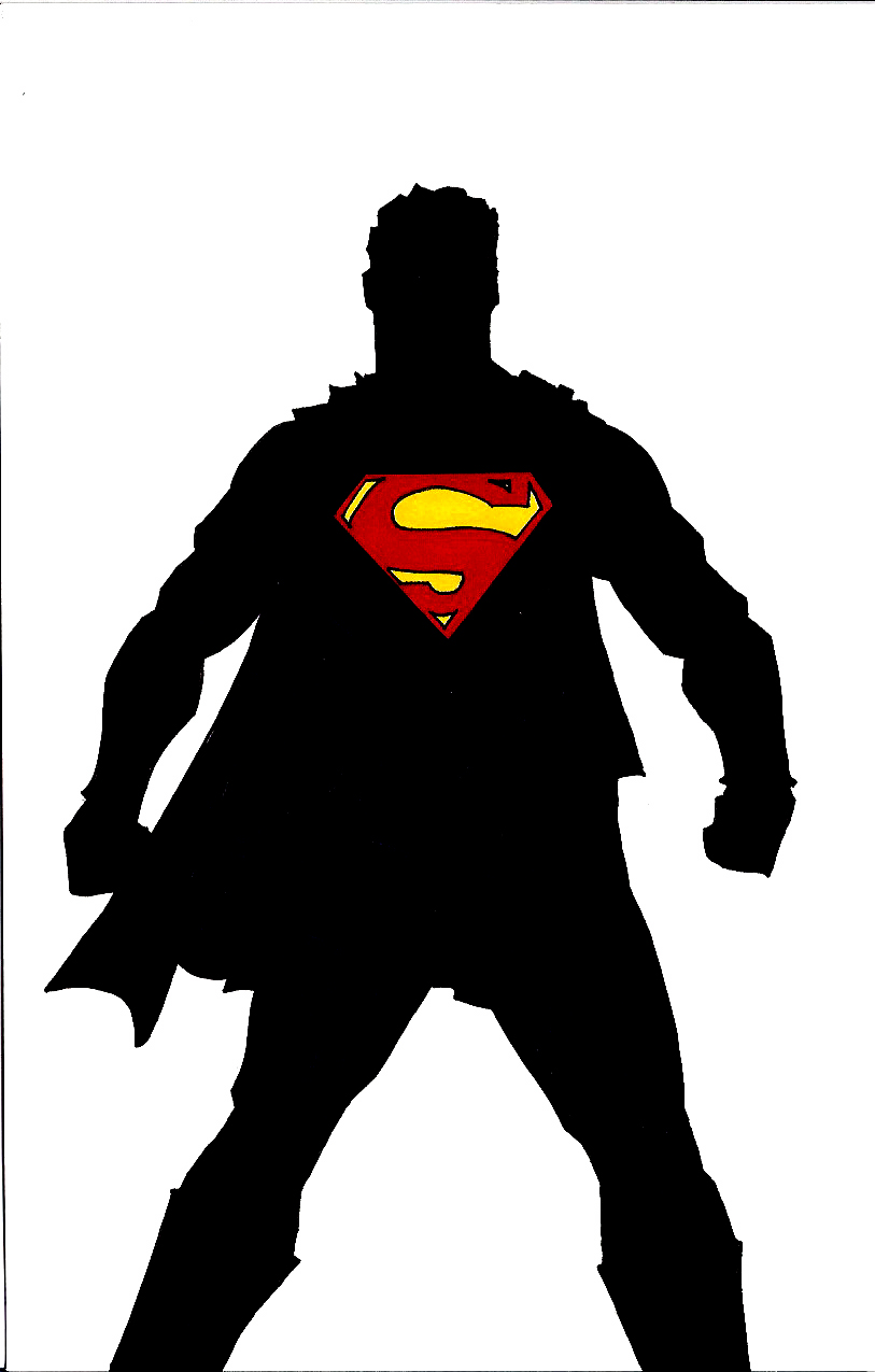 813x1275 Superman Silhouette Black