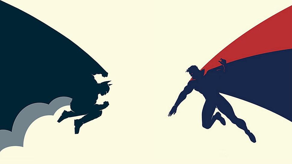 970x546 Silhouette Of Batman And Superman Illustration Hd Wallpaper
