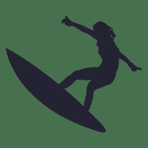 512x512 Girl Surfing Jump Silhouette