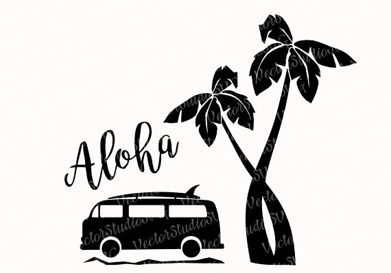 570x399 Aloha Svg Hawaii Tropical Clipart Silhouette Designs Svg Vw Surfer