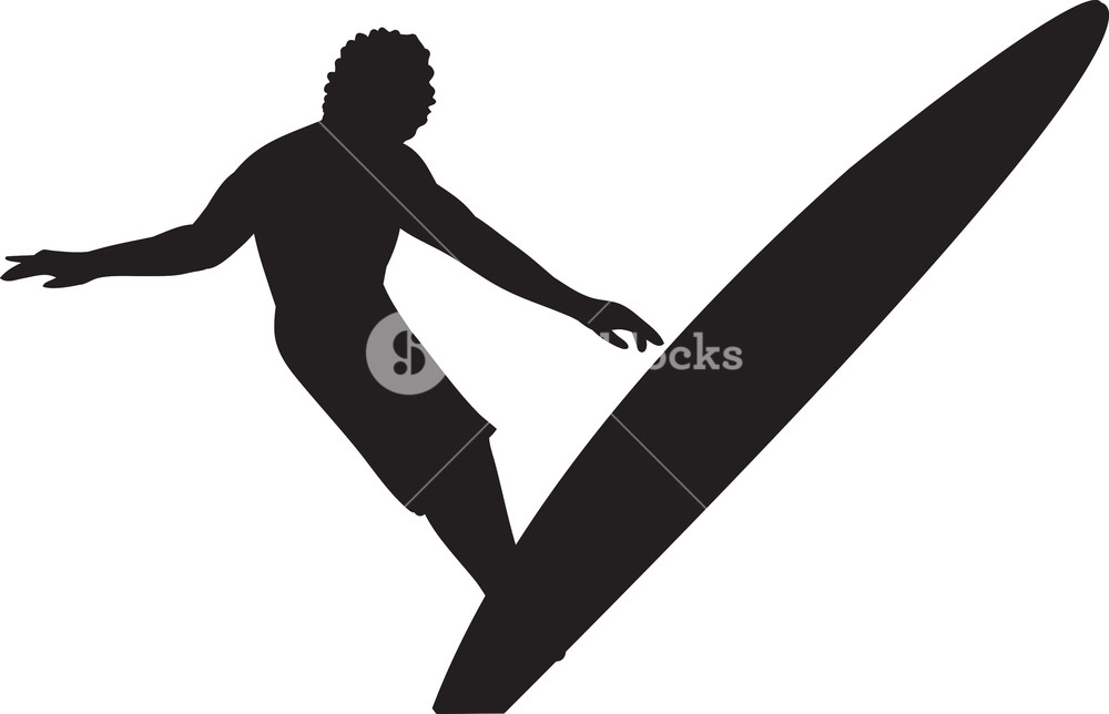1000x644 Vector Surfer Silhouette Royalty Free Stock Image