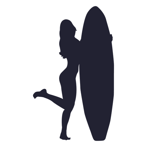 512x512 Girl With Surfboard Silhouette
